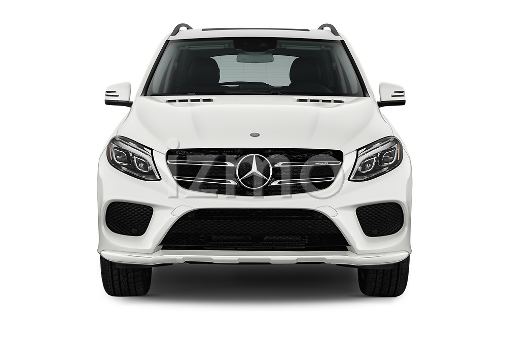 Car photography straight front view of a 2017 Mercedes Benz GLE-Class AMG-GLE43 5 Door SUV Front View