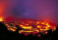 Kilauea Volcano - lava lake inside of Pu'u o'o vent. Hawaii, Volcanoes National Park.