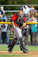 Greeneville Astros catcher Jacob Nottingham (27) on defense against the Burlington Royals at Burlington Athletic Park on June 29, 2014 in Burlington, North Carolina.  The Royals defeated the Astros 11-0. (Brian Westerholt/Four Seam Images)