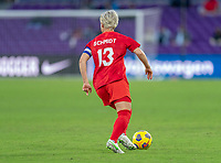 ORLANDO, FL - FEBRUARY 21: Sophie Schmidt #13 of Canada dribbles during a game between Canada and Argentina at Exploria Stadium on February 21, 2021 in Orlando, Florida.