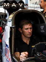 Aug 16, 2014; Brainerd, MN, USA; NHRA top fuel dragster driver Morgan Lucas during qualifying for the Lucas Oil Nationals at Brainerd International Raceway. Mandatory Credit: Mark J. Rebilas-