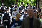 © Joel Goodman - 07973 332324 . 30/06/2011 . London , UK . Dozens of police . Tens of thousands of public sector workers demonstrate and march through the City of London in protest at proposed changes to their pensions . Photo credit : Joel Goodman