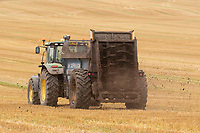 10.9.2020 Contractors spreading chicken manure on stubble <br /> ©Tim Scrivener Photographer 07850 303986<br />      ....Covering Agriculture In The UK.