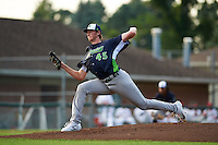 Vermont Lake Monsters starting pitcher A.J. Puk (45) delivers a pitch during the first inning of his professional debut against the Auburn Doubledays on July 12, 2016 at Falcon Park in Auburn, New York.  Auburn defeated Vermont 3-1.  (Mike Janes/Four Seam Images)