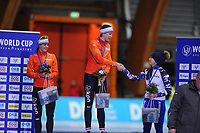SPEEDSKATING: ERFURT: 19-01-2018, ISU World Cup, Podium 1000m Ladies A Division, Marrit Leenstra (NED), Jorien ter Mors (NED), Yekaterina  Shikhova (RUS), photo: Martin de Jong
