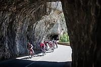 breakaway group rolling through the spectacular Gorges de l'Ardèche<br /> <br /> Stage 12 from Saint-Paul-Trois-Châteaux to Nîmes (159km)<br /> 108th Tour de France 2021 (2.UWT)<br /> <br /> ©kramon