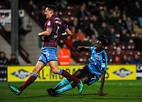 Fleetwood Town's forward Jordy Hiwula (7) scores goal number  6 of the season during the Sky Bet League 1 match between Scunthorpe United and Fleetwood Town at Glanford Park, Scunthorpe, England on 17 October 2017. Photo by Stephen Buckley/PRiME Media Images