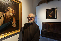 Switzerland. Canton Ticino. Bigorio. Monastery. Convento Santa Maria dei Frati Cappuccini. Fra Roberto Pasotti. The Order of Friars Minor Capuchin is an order of friars within the Catholic Church, among the chief offshoots of the Franciscans. Antique religious painting on the wall. 18.12.2018 © 2018 Didier Ruef