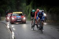 succesfull early breakaway group consisting of: Julian Alaphilippe (FRA/Deceuninck - Quick-Step), Gregor Mühlberger (AUT/Bora-Hansgrohe) & Alessandro De Marchi (ITA/CCC) plowing through the rain<br /> <br /> Stage 6: Saint-Vulbas to Saint-Michel-de-Maurienne (228km)<br /> 71st Critérium du Dauphiné 2019 (2.UWT)<br /> <br /> ©kramon