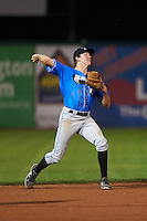 Hudson Valley Renegades shortstop Michael Russell (22) throws to first during a game against the Vermont Lake Monsters on September 3, 2015 at Centennial Field in Burlington, Vermont.  Vermont defeated Hudson Valley 4-1.  (Mike Janes/Four Seam Images)