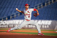 Palm Beach Cardinals starting pitcher Derian Gonzalez (16) delivers a pitch during a game against the Clearwater Threshers on April 14, 2017 at Spectrum Field in Clearwater, Florida.  Clearwater defeated Palm Beach 6-2.  (Mike Janes/Four Seam Images)
