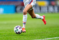 SOLNA, SWEDEN - APRIL 10: Christen Press #23 of the USWNT dribbles during a game between Sweden and USWNT at Friends Arena on April 10, 2021 in Solna, Sweden.