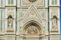 The right door mosaic and the fine Gothic architectural detail  of  the  of the Gothic-Renaissance Duomo of Florence,  Basilica of Saint Mary of the Flower; Firenza ( Basilica di Santa Maria del Fiore ).  Built between 1293 & 1436. Italy