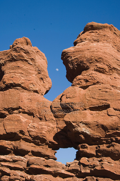 Siamese Twins Rock formation and moon, Garden of The Gods National Landmark, Colorado Springs, Colorado, USA, February 2006