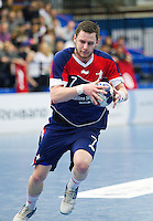 06 APR 2012 - LONDON, GBR - Great Britain's Chris Mohr (GBR) looks for a way through the Tunisian defence during the men's 2012 London Cup match at the National Sports Centre in Crystal Palace, Great Britain (PHOTO (C) 2012 NIGEL FARROW)