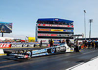 Sep 2, 2017; Clermont, IN, USA; NHRA top fuel driver Shawn Langdon during qualifying for the US Nationals at Lucas Oil Raceway. Mandatory Credit: Mark J. Rebilas-USA TODAY Sports