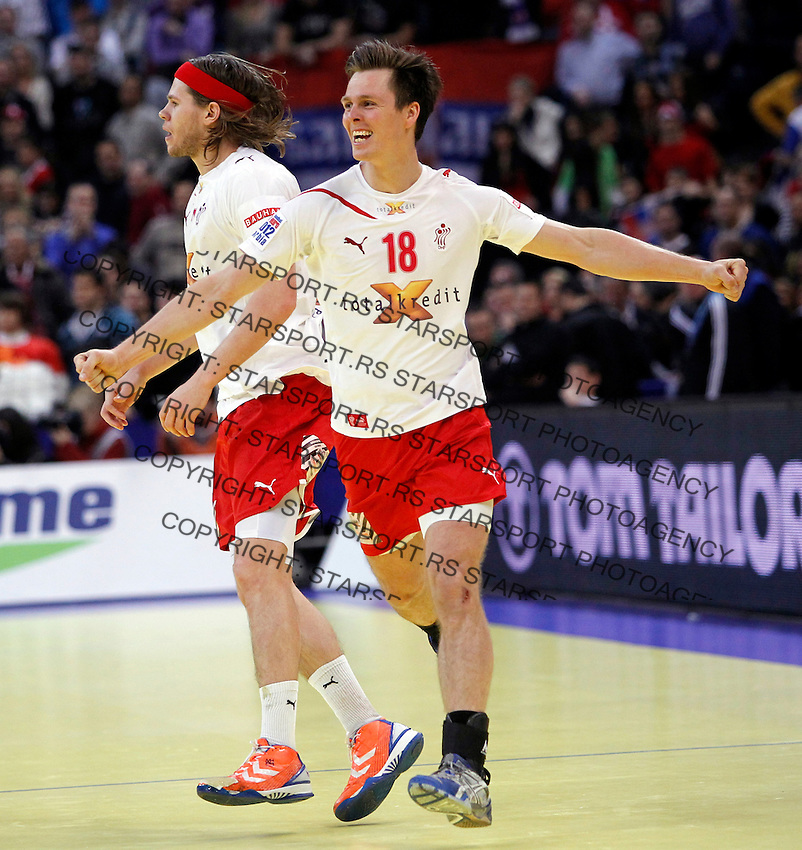 Mikkel Hansen, Hans Lindberg, during men`s EHF EURO 2012 handball championship final game between Serbia and Denmark in Belgrade, Serbia, Sunday, January 29, 2011.  (photo: Pedja Milosavljevic / thepedja@gmail.com / +381641260959)