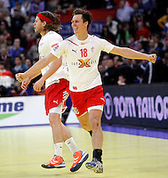 Mikkel Hansen, Hans Lindberg, during men`s EHF EURO 2012 handball championship final game between Serbia and Denmark in Belgrade, Serbia, Sunday, January 29, 2011.  (photo: Pedja Milosavljevic / thepedja@gmail.com / +381641260959)