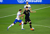 LOS ANGELES, CA - SEPTEMBER 02: Tristan Blackmon #27 of LAFC attempts to moves past Cade Cowell #44 of San Jose Earthquakes battle for a head ball during a game between San Jose Earthquakes and Los Angeles FC at Banc of California stadium on September 02, 2020 in Los Angeles, California.