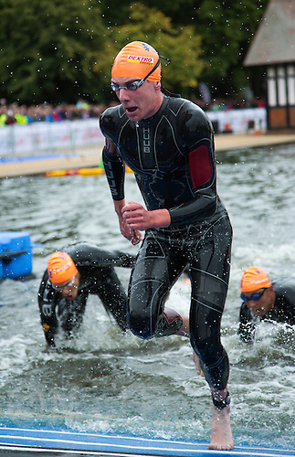 15 SEP 2013 - LONDON, GBR - Alistair Brownlee  (GBR) of Great Britain leaves the water at the end of the first swim lap during the elite men's ITU 2013 World Triathlon Series Grand Final in Hyde Park, London, Great Britain (PHOTO COPYRIGHT © 2013 NIGEL FARROW, ALL RIGHTS RESERVED)