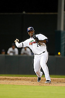 Fort Myers Miracle third baseman Miguel Sano #24 throws to first during a game against the Jupiter Hammerheads on April 9, 2013 at Hammond Stadium in Fort Myers, Florida.  Fort Myers defeated Jupiter 1-0.  (Mike Janes/Four Seam Images)