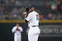 Charlotte Hornets relief pitcher Thyago Vieira (10) looks to his catcher for the sign against the Louisville Bats at BB&T BallPark on June 22, 2019 in Charlotte, North Carolina. The Hornets defeated the Bats 7-6. (Brian Westerholt/Four Seam Images)