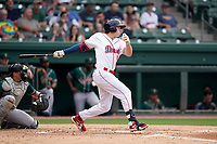 Center fielder Tyler Esplin (25) of the Greenville Drive in a game against the Greensboro Grasshoppers on Tuesday, July 20, 2021, at Fluor Field at the West End in Greenville, South Carolina. (Tom Priddy/Four Seam Images)