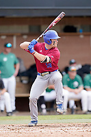 Third baseman Sean Kline (18) of the Presbyterian College Blue Hose in a game against the University of South Carolina Upstate Spartans on Tuesday, March 23, 2021, at Cleveland S. Harley Park in Spartanburg, South Carolina. (Tom Priddy/Four Seam Images)