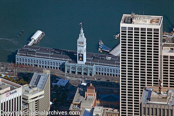 aerial photograph Ferry Building during Super Bowl 50, San Francisco, California