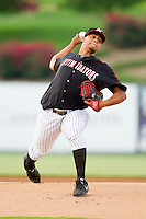Kannapolis Intimidators starting pitcher Francellis Montas (45) in action against the Lakewood BlueClaws at CMC-Northeast Stadium on August 14, 2013 in Kannapolis, North Carolina.  The Intimidators defeated the BlueClaws 10-2.  (Brian Westerholt/Four Seam Images)