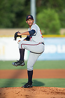 Danville Braves starting pitcher Huascar Ynoa (54) in action against the Burlington Royals at Burlington Athletic Stadium on August 15, 2017 in Burlington, North Carolina.  The Royals defeated the Braves 6-2.  (Brian Westerholt/Four Seam Images)