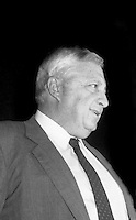 Ariel Sharon, former Israeli Prime Minister (2001-2006) and Defense Minister died January 11, 2014 after lying in a coma for 8 years. He had resigned as Defense Minister over responsibility for the massacre of 3,000 Palestinians at the Sabra and Shatila refugee camps in 1982. Seen here 11.19.84 when he sued Time Magazine for libel in Federal District Court in New York City  which ruled he had not been libeled due to lack of proof of malice by the magazine.