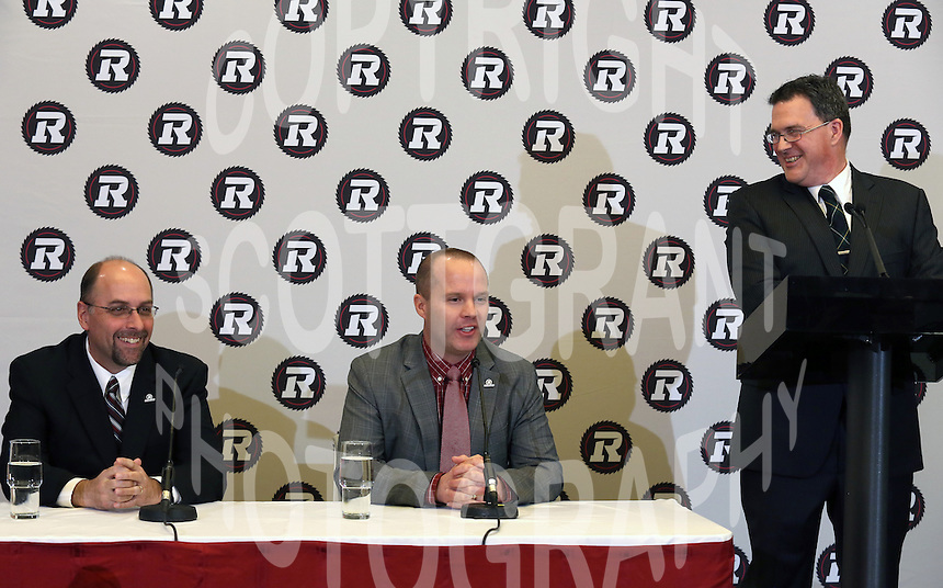 Marcel Desjardins GM Rick Campbell Head Coach Barre Campbell Ottawa RedBlacks 2013. Photo Scott Grant