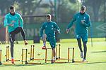 13.10.2020, Trainingsgelaende am wohninvest WESERSTADION - Platz 12, Bremen, GER, 1.FBL, Werder Bremen Training<br /> <br /> Davie Selke  (SV Werder Bremen #09)<br /> Romano Schmid (Werder Bremen 20)<br /> Nick Woltemade (werder Bremen #41)<br /> <br /> Aufwärmen vor dem Training<br /> Querformat<br /> <br /> <br /> <br /> Foto © nordphoto / Kokenge