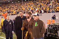 West Virginia Governor Joe Manchin, the WVU mascot and General Chuck Yeager pose at halftime of the football game between the West Virginia Mountaineers and the Pitt Panthers on December 01, 2007 at Mountaineer Field, Morgantown, West Virginia.
