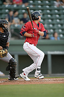 Right fielder Tyler Esplin (25) of the Greenville Drive, playing as the Energia in MiLB's Copa de la Diversion, bats in a game against the Augusta GreenJackets on Wednesday, April 10, 2019, at Fluor Field at the West End in Greenville, South Carolina. Augusta won, 9-8. (Tom Priddy/Four Seam Images)