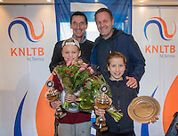 Hilversum, Netherlands, December 4, 2016, Winter Youth Circuit Masters, Overall winners Masters 12 years Abel Forger and Isis van den Broek with FedCup captain Paul Haarhuis and coach Tjerk Bogtstra (R)<br /> Photo: Tennisimages/Henk Koster