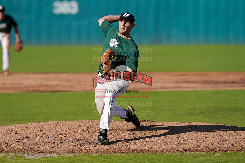 Jordan Marks (33) of the University of South Carolina Upstate Spartans Green team delivers a pitch in the Green and Black Fall World Series Game 3 on Sunday, November 1, 2020, at Cleveland S. Harley Park in Spartanburg, South Carolina. (Tom Priddy/Four Seam Images)