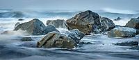 Rocks on beach in waves, Westland Tai Poutini National Park, West Coast, UNESCO Wolrd Heritage Area, New Zealand, NZ
