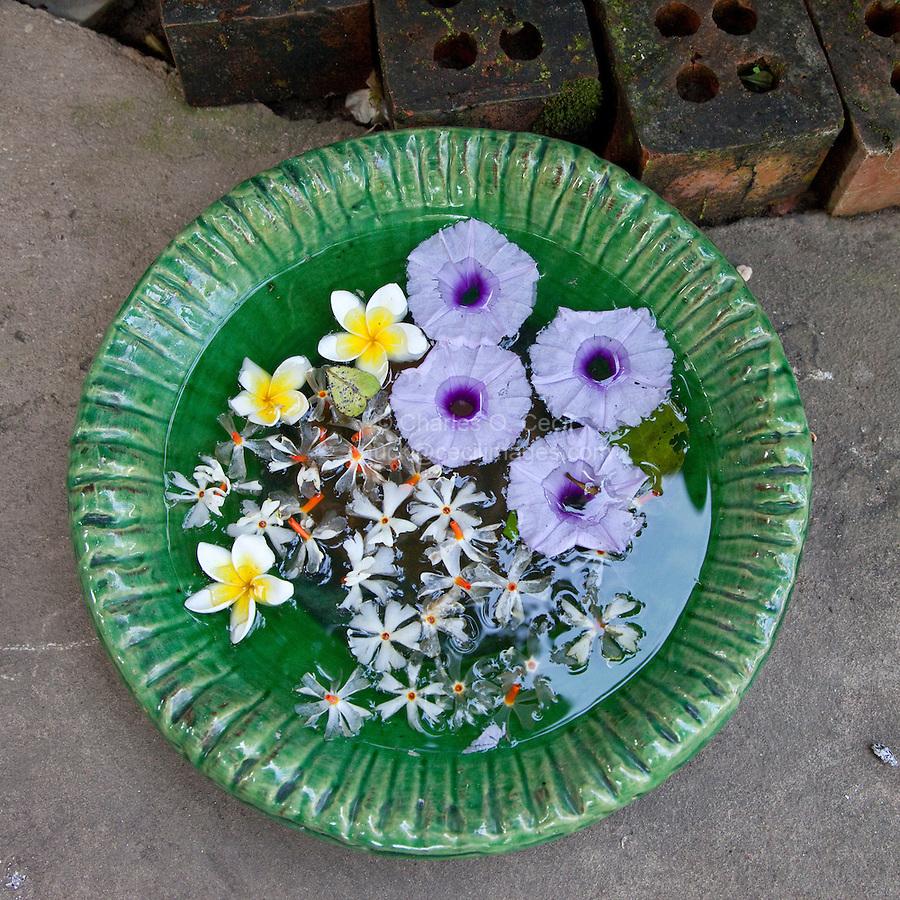 Myanmar, Burma, Yangon.  Bowl of Welcoming Flowers at a Restaurant.