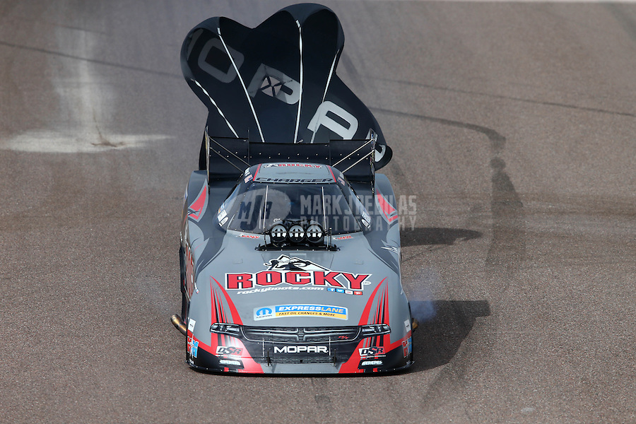 Feb 22, 2015; Chandler, AZ, USA; NHRA funny car driver Matt Hagan during the Carquest Nationals at Wild Horse Pass Motorsports Park. Mandatory Credit: Mark J. Rebilas-