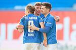20.02.2021, xtgx, Fussball 3. Liga, FC Hansa Rostock - SV Waldhof Mannheim, v.l. Bentley Baxter Bahn (Hansa Rostock, 8), Oliver Daedlow (Hansa Rostock, 25) , Julian Riedel (Hansa Rostock, 3) Jubel ueber den Sieg, Jubel nach Spielende <br /> <br /> (DFL/DFB REGULATIONS PROHIBIT ANY USE OF PHOTOGRAPHS as IMAGE SEQUENCES and/or QUASI-VIDEO)<br /> <br /> Foto © PIX-Sportfotos *** Foto ist honorarpflichtig! *** Auf Anfrage in hoeherer Qualitaet/Aufloesung. Belegexemplar erbeten. Veroeffentlichung ausschliesslich fuer journalistisch-publizistische Zwecke. For editorial use only.