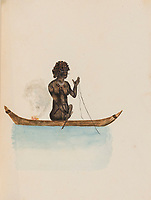 BNPS.co.uk (01202) 558833. <br /> Pic: ForumAuctions/BNPS<br /> <br /> A British naval officer's fascinating early sketches of Aboriginal Australians have sold for £90,000 - 15 times their estimate.<br /> <br /> The album of 12 drawings were made by talented artist Captain Joseph Tetley in 1804, who travelled to the other side of the world on board HMS Porpoise.<br /> <br /> During his time Down Under, he made numerous sketches of the native Aboriginal population in Botany Bay. The watercolours show them engaged in traditional pursuits including hunting and spear fishing. There are men holding spears and shields, as well as a mother caring for her child.<br /> <br /> The sketches, which measure 8.5ins by 6.75ins, sparked a bidding war when they went under the hammer with London-based Forum Auctions.