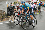 Jakob Fuglsang (DEN) Astana, Domenico Pozzovivo (ITA) NTT and Vincenzo Nibali (ITA) Trek-Segafredo on the slopes of Mount Etna during Stage 3 of the 103rd edition of the Giro d'Italia 2020 running 150km from Enna to Etna (Linguaglossa-Piano Provenzana), Sicily, Italy. 5th October 2020.  <br /> Picture: LaPresse/Marco Alpozzi | Cyclefile<br /> <br /> All photos usage must carry mandatory copyright credit (© Cyclefile | LaPresse/Marco Alpozzi)