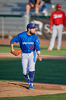 Ogden Raptors starting pitcher Antonio Hernandez (27) follows through on his pitch to the plate against the Orem Owlz at Lindquist Field on July 27, 2019 in Ogden, Utah. The Raptors defeated the Owlz 14-1. (Stephen Smith/Four Seam Images)