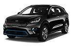 2019 KIA e-Niro More 5 Door SUV Angular Front stock photos of front three quarter view
