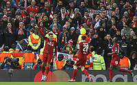 Liverpool's Roberto Firmino (left)  celebrates scoring his side's second goal <br /> <br /> Photographer Rich Linley/CameraSport<br /> <br /> UEFA Champions League Round of 16 Second Leg - Liverpool v Atletico Madrid - Wednesday 11th March 2020 - Anfield - Liverpool<br />  <br /> World Copyright © 2020 CameraSport. All rights reserved. 43 Linden Ave. Countesthorpe. Leicester. England. LE8 5PG - Tel: +44 (0) 116 277 4147 - admin@camerasport.com - www.camerasport.com