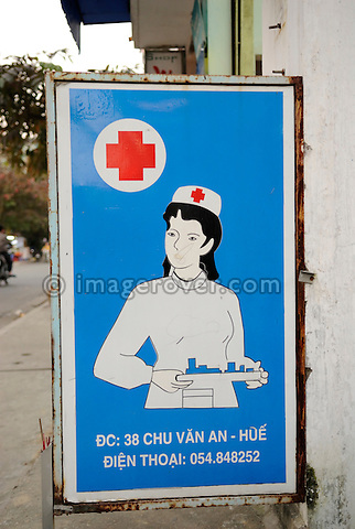 Asia, Vietnam, Hue. Advertisement for medical services.