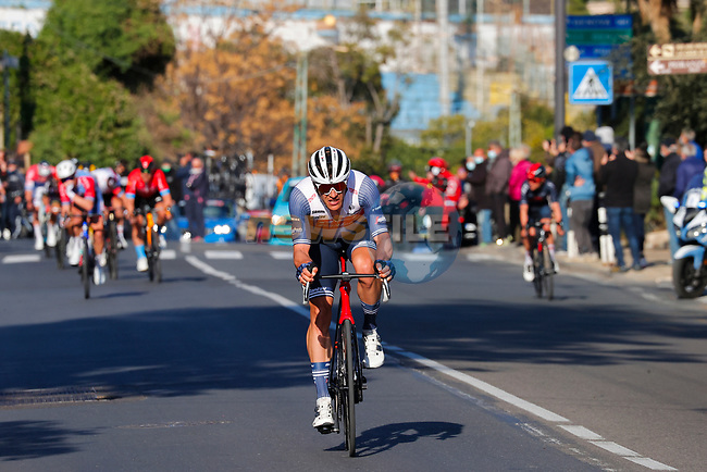 Jasper Stuyven (BEL) Trek-Segafredo launches his attack 2km from the finish of the 112th edition of Milan-San Remo 2021, running 299km from Milan to San Remo, Italy. 20th March 2021.<br /> Photo: LaPresse/POOL/Luca Bettini | Cyclefile<br /> <br /> All photos usage must carry mandatory copyright credit (© Cyclefile | LaPresse/POOL/Luca Bettini)
