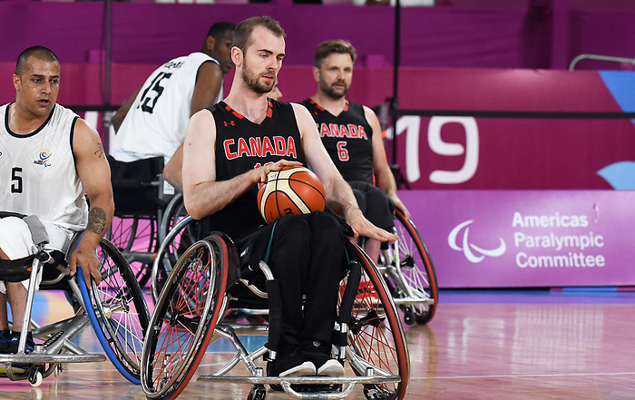 Lee Melymick, Lima 2019 - Wheelchair Basketball // Basketball en fauteuil roulant.<br /> Men's wheelchair basketball competes against Columbia // Le basketball en fauteuil roulant masculin contre Colombie. 25/08/2019.